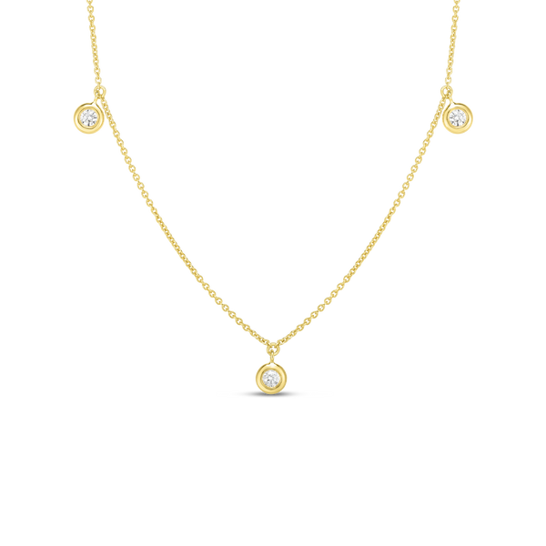 18K Yellow Gold Three Diamond Drop Station Necklace