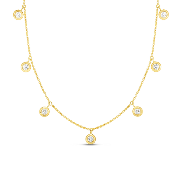 18K Yellow Gold Seven Diamond Drop Station Necklace