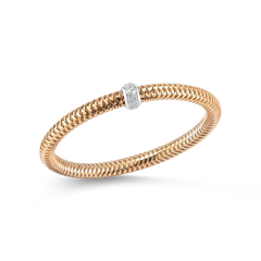 18K Rose Gold Flexible Bangle With Diamonds