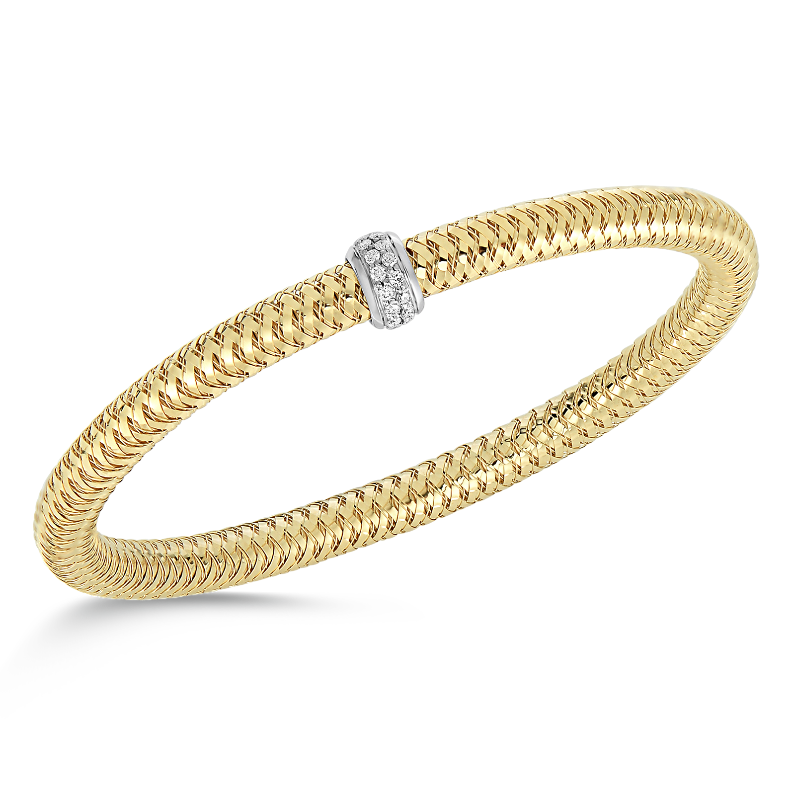 18K Yellow Gold Flexible Bangle With Diamonds