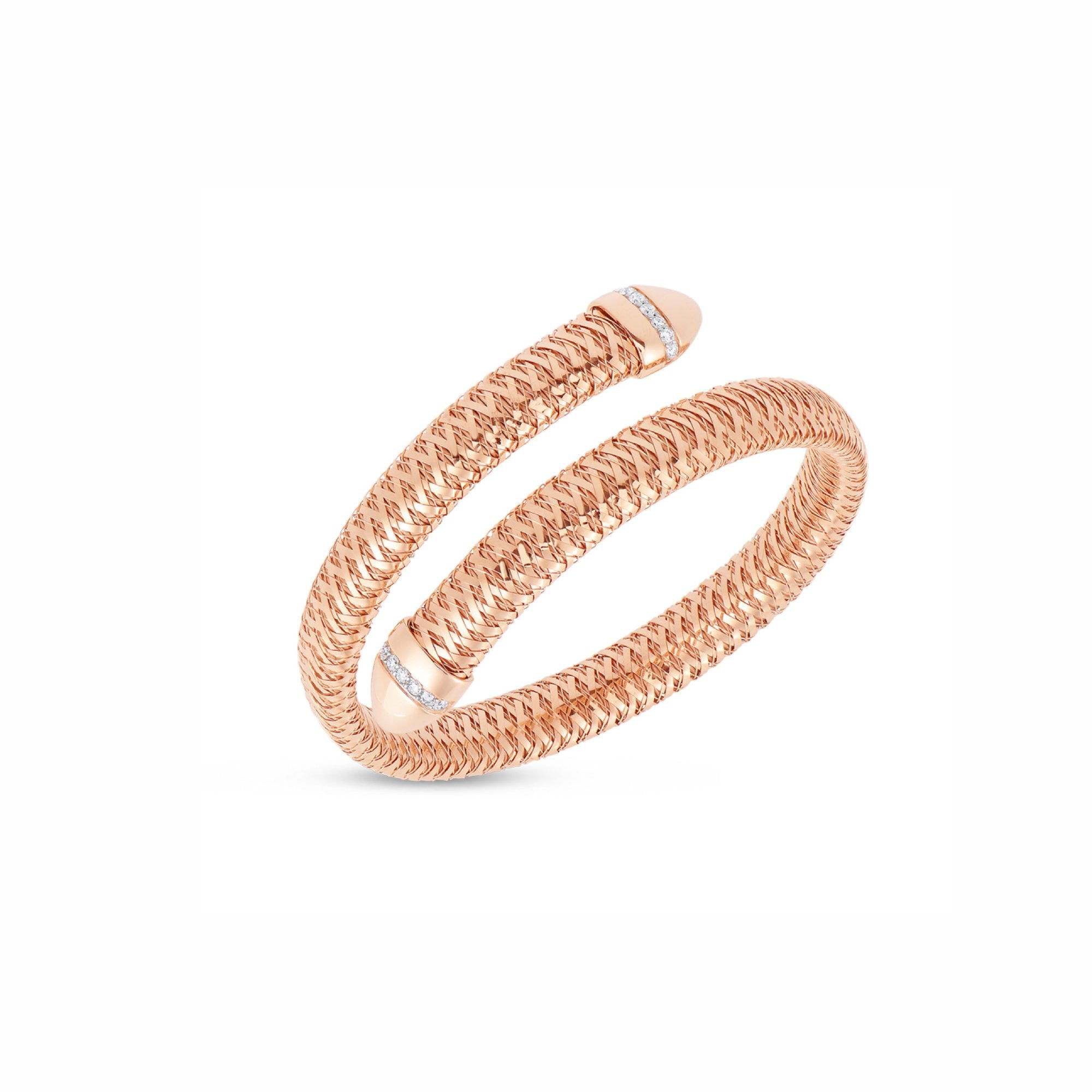 18K Rose Gold Flexible Snake Cuff With Diamonds