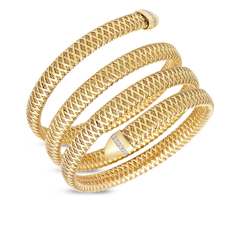 Flexible Snake Cuff With Diamonds