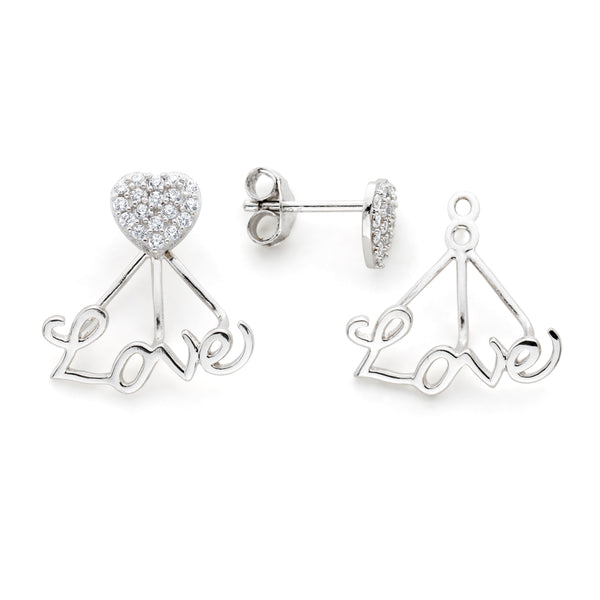 Cubic Zirconia Heart Stud with Jacket Plated Earrings