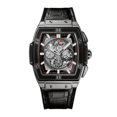 Spirit of Big Bang Men's Automatic Black Leather Strap Watch