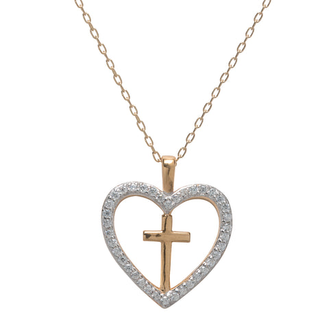 Cubic Zirconia Cross Heart Pendant Gold Over Silver