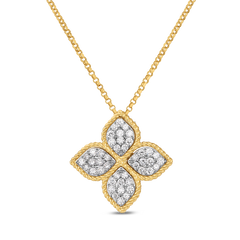 18K Yellow Gold Large Pendant With Diamonds Princess Flower