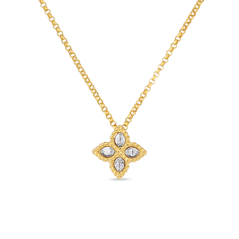 18K Yellow Gold Small Pendant With Diamonds Princess Flower