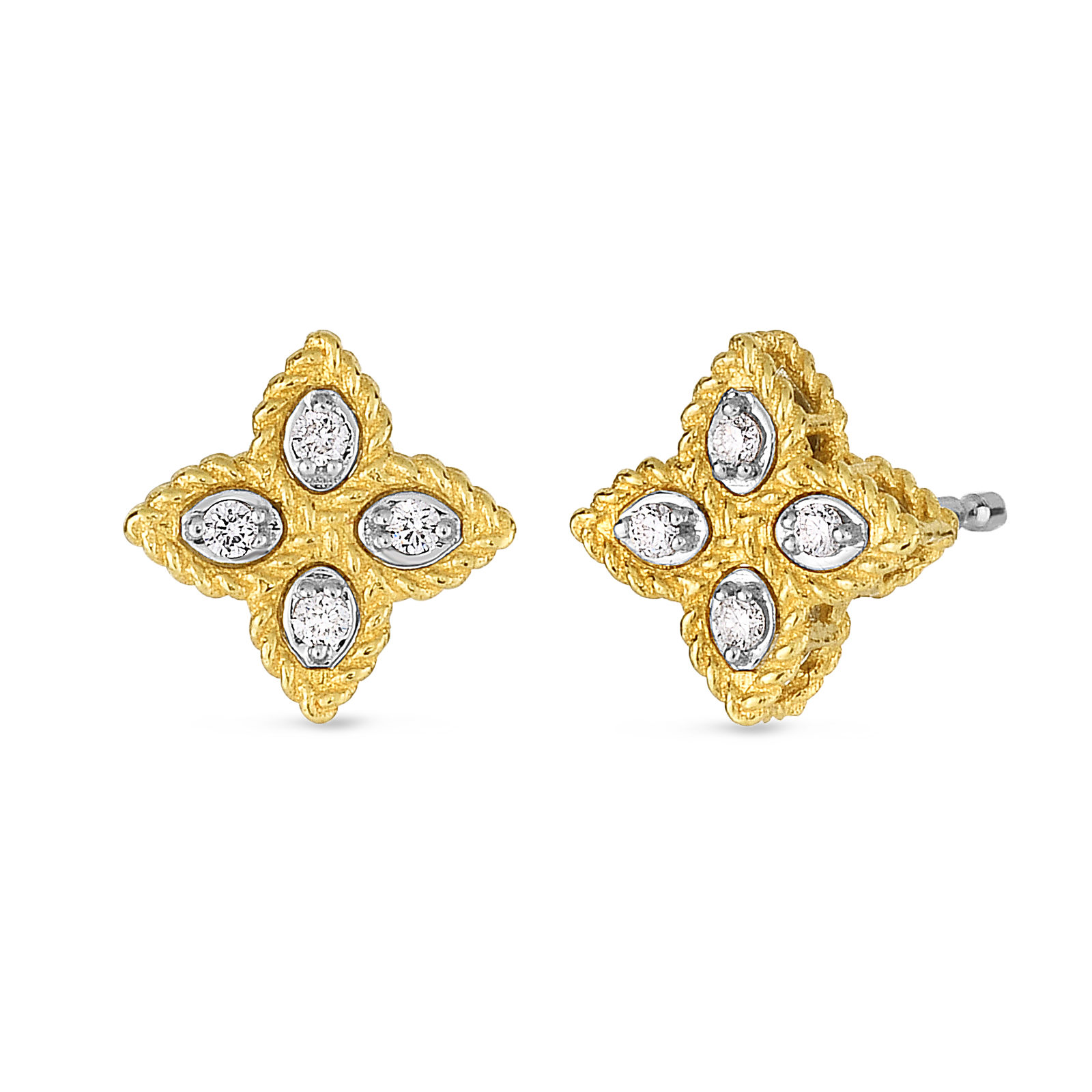 18K Yellow Gold Princess Flower Small Stud Earrings With Diamonds