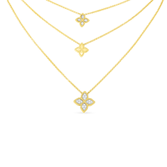 18K Yellow Gold & Diamond 3 Drop Flower Necklace