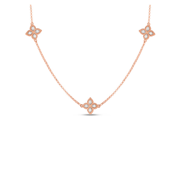 18K Rose Gold Black & White Diamond Reversible Flower Necklace