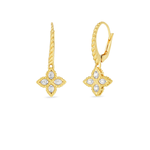18K Yellow Gold Princess Flower Small Drop Earrings With Diamond Accents