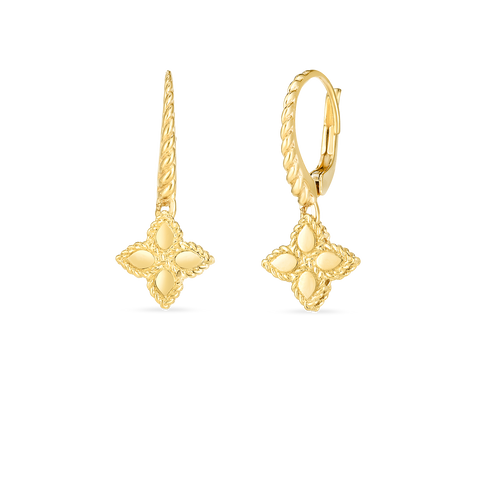 18K Yellow Gold Princess Flower Small Drop Earrings