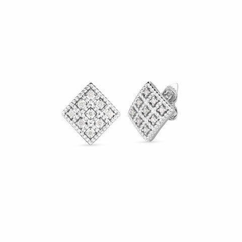 18K WHITE GOLD & DIAMOND BYZANTINE BAROCCO SMALL SQUARE STUD EARRING
