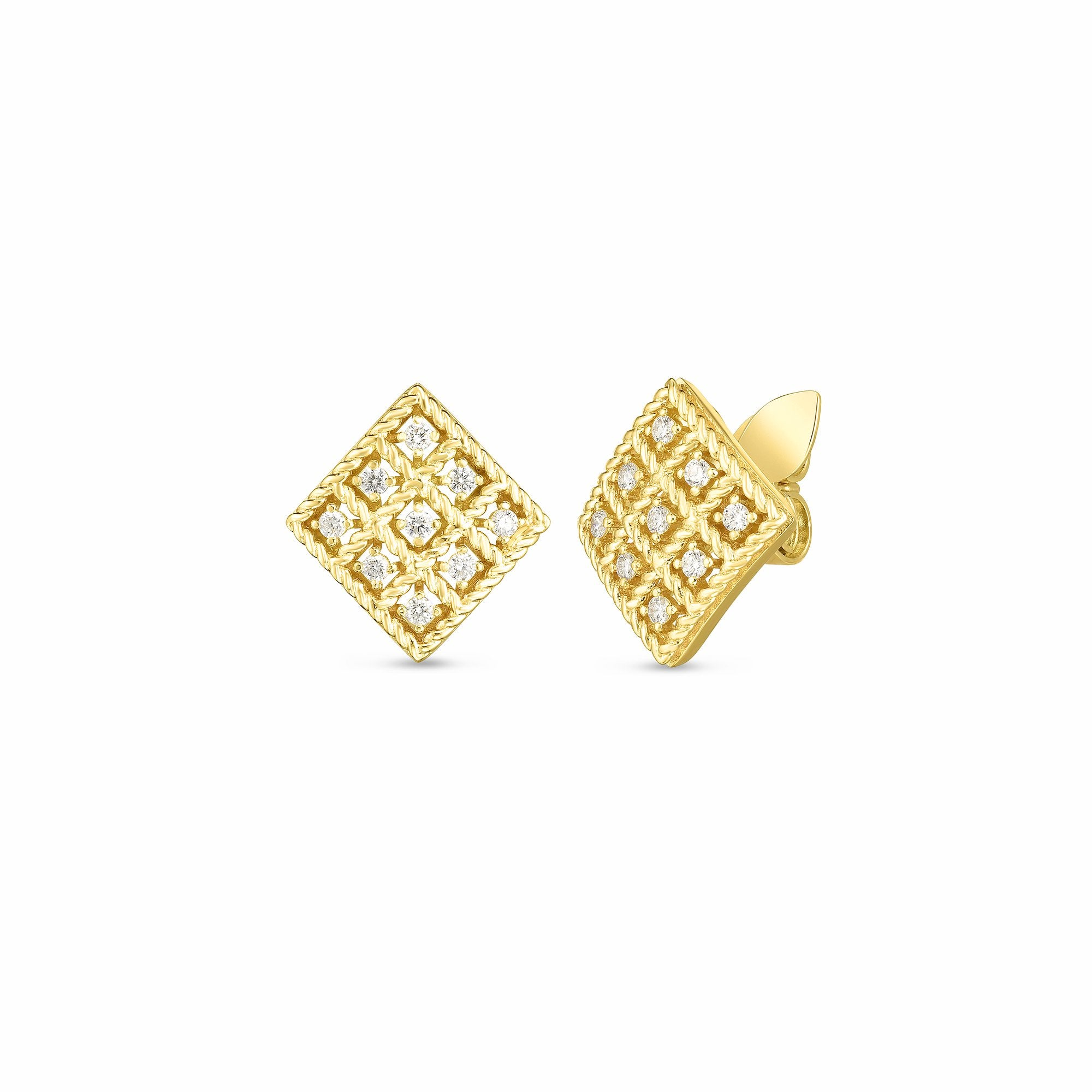 18K YELLOW GOLD & DIAMOND BYZANTINE BAROCCO SMALL SQUARE STUD EARRING