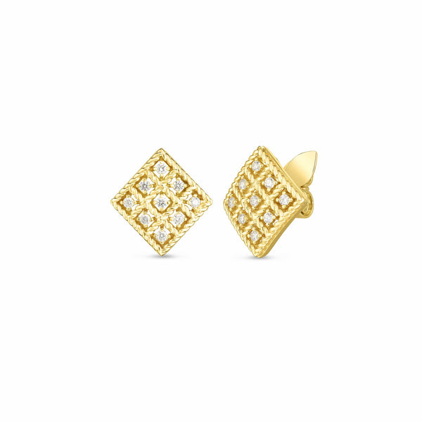 18K Yellow Gold & Diamond Byzantine Barocco Small Square Stud Earrings