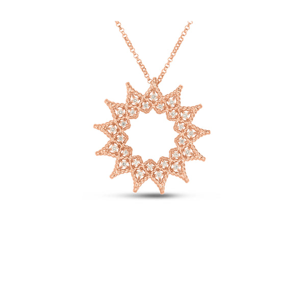 18K Rose Gold & Diamond Open Roman Barocco Sunburst Pendant