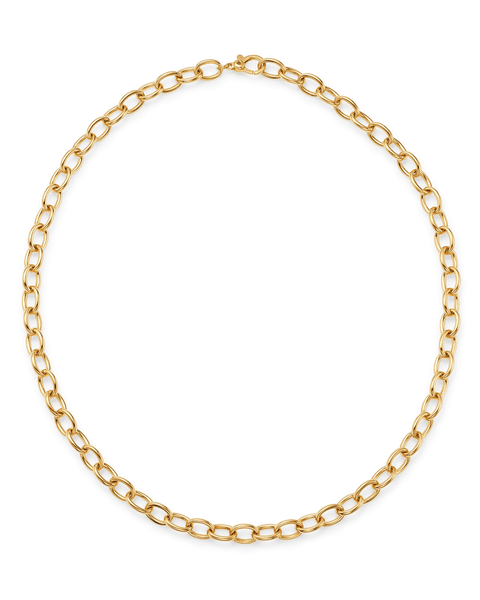 18K Yellow Gold Oval Link Necklace