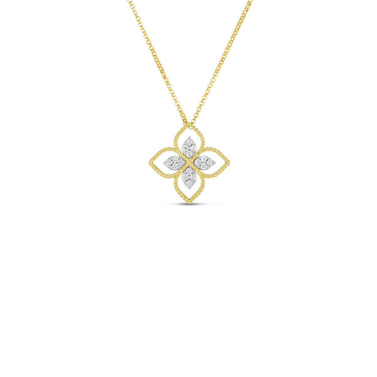 18K Yellow Gold Principessa Large Flower Pendant With Diamond Accents