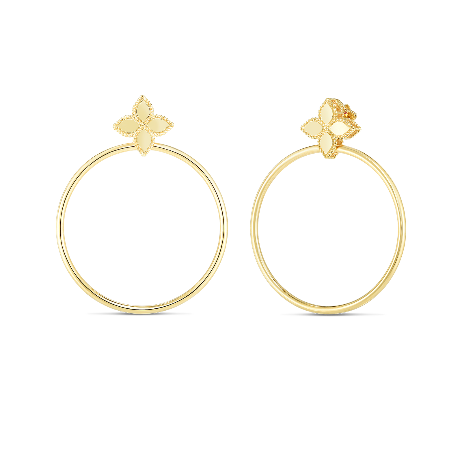 18K Yellow Gold Princess Flower Earrings With Attached Hoop