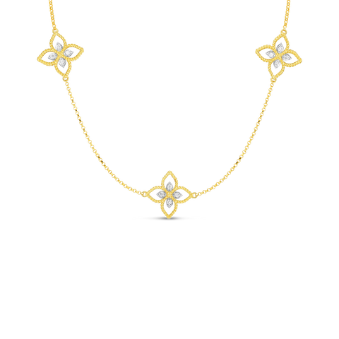 18K Yellow Gold Princess Flower 3 Station Necklace With Diamonds