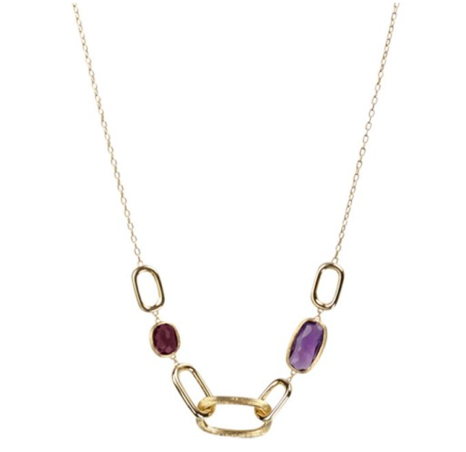18K Yellow Gold Murano Link Necklace Amethyst &  Rhodolite
