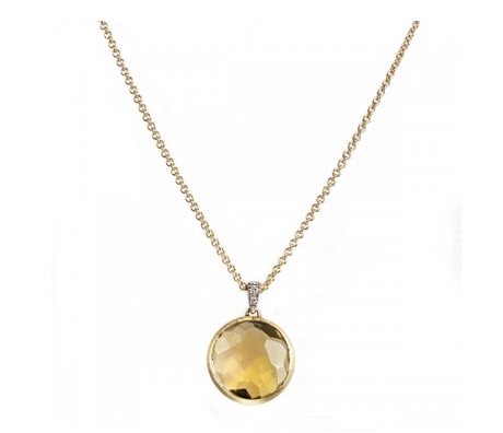18K Yellow Gold Delicati Yellow Quartz Pendant