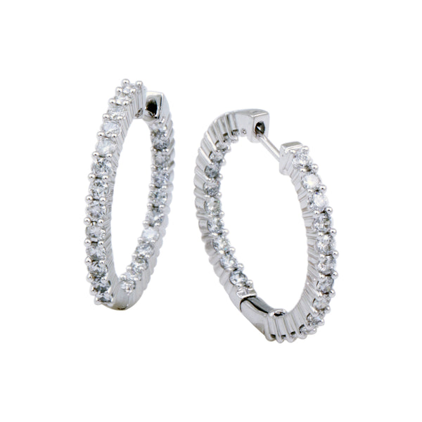 2.00 CTW Diamond In & Out Hoop Earrings