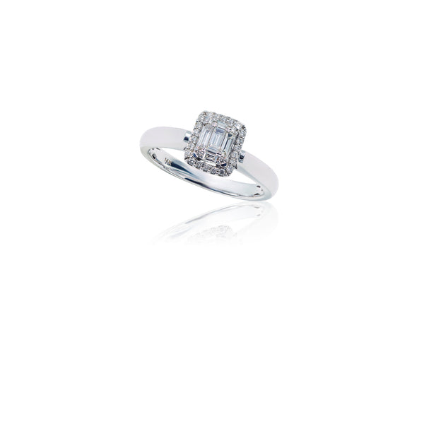 14K White Gold Round and Baguette Diamond Ring (.25 ct. tw.)