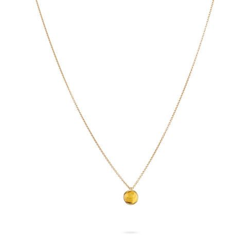 18K Yellow Gold Delicati Round Yellow Quartz Pendant
