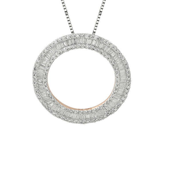 14K White Gold Diamond Circle Pendant (1.00 ct. tw.)