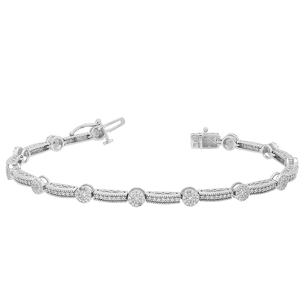 1.0. CTW Circle and Fancy Link Diamond Bracelet
