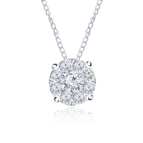 Diamond Cluster Necklace 14k White Gold (1.00 ct. tw.)
