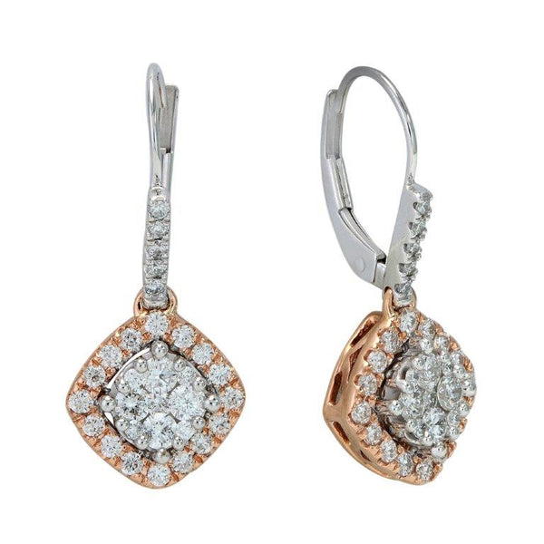 1.0 CTW Round Diamond Drop Earrings