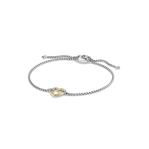 David Yurman Cable Collectible Heart Station Bracelet With 18K Gold