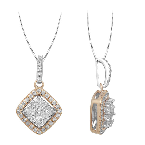 0.50 CTW Round Diamond Shaped Pendant on Chain