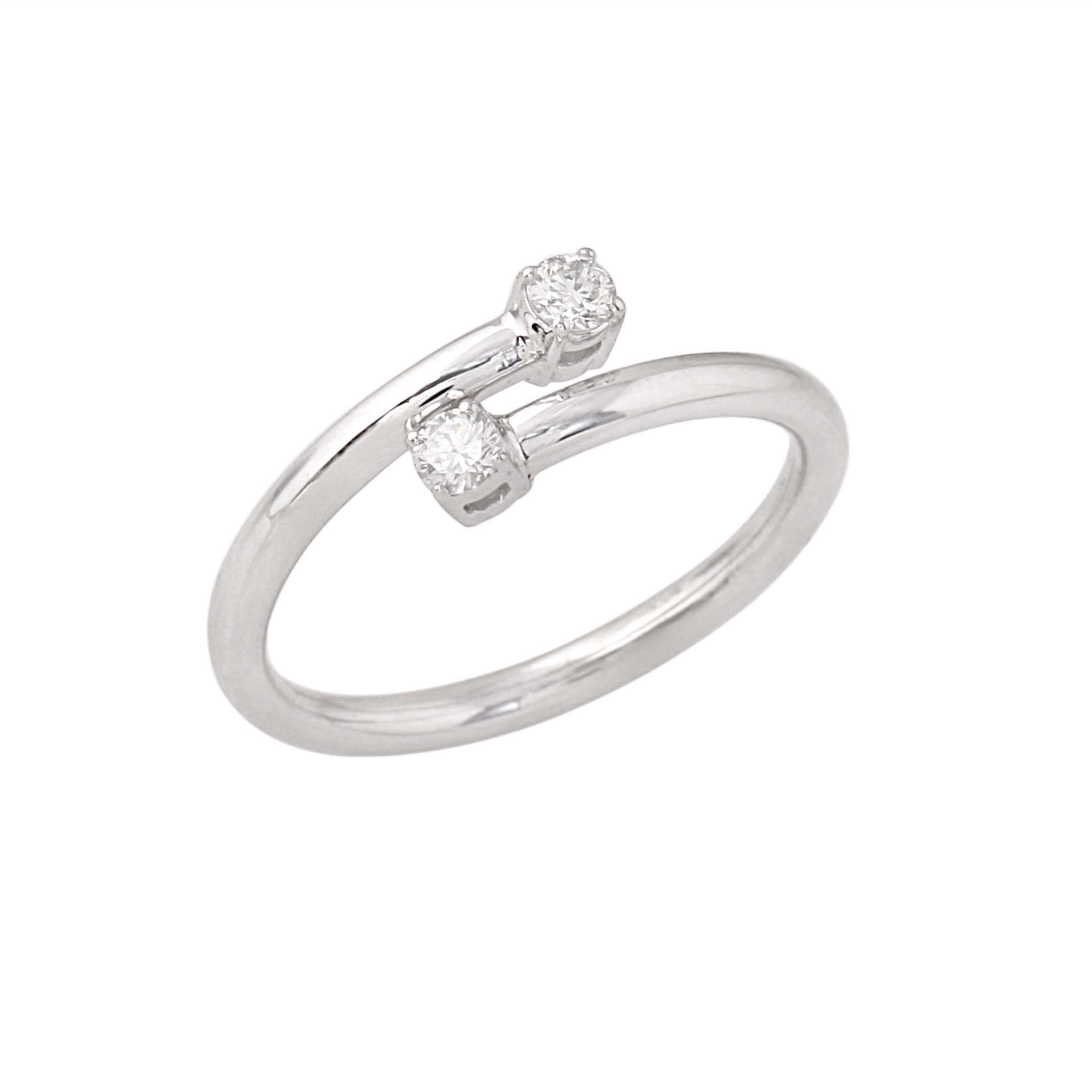 14K White Gold Flexible Diamond Ring 2 Stone