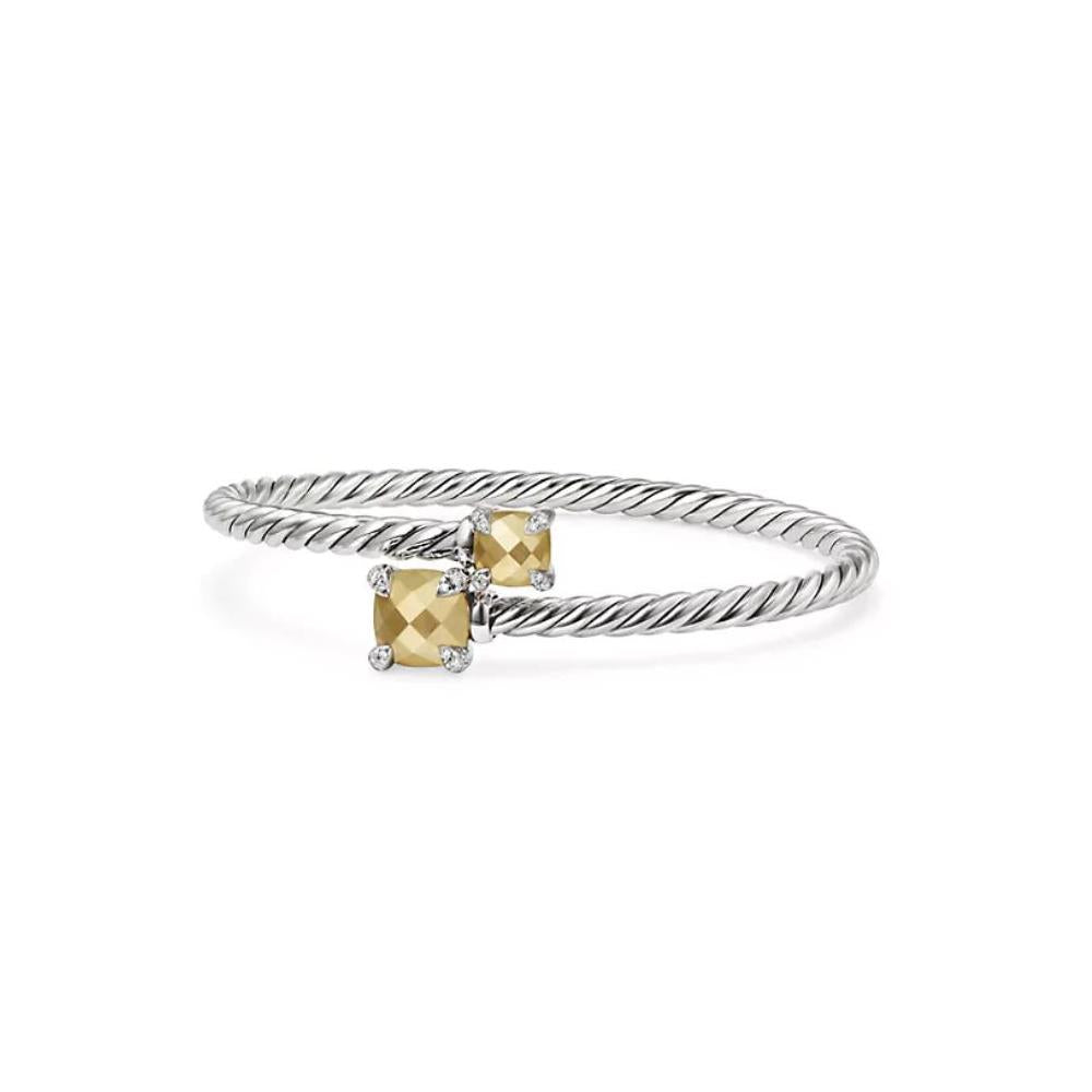 Chatelaine® Bypass Bracelet with Bond Gold and Diamonds