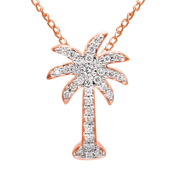 14K Gold Diamond Palm Tree Necklace (0.20 ct. tw.)