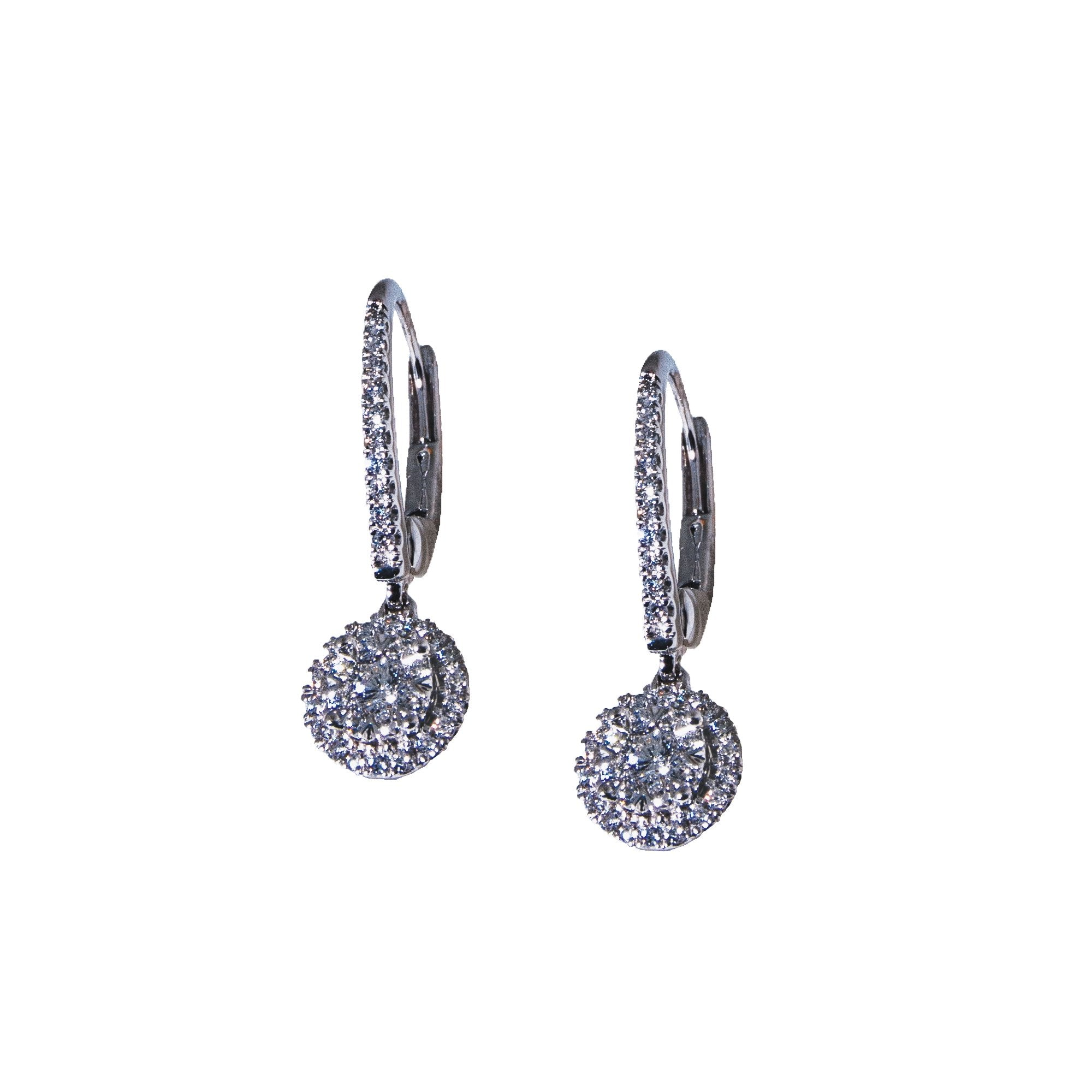 14K White Gold Round Diamond Cluster Drop Earrings (.40 ct. tw.)