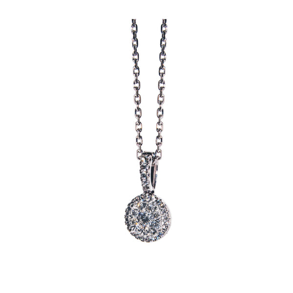 14K White Gold Round Diamond Cluster Drop Pendant (.35 ct. tw.)