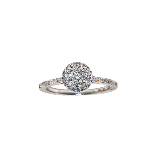 14K White Gold Round Diamond Cluster Ring (.35 ct. tw.)