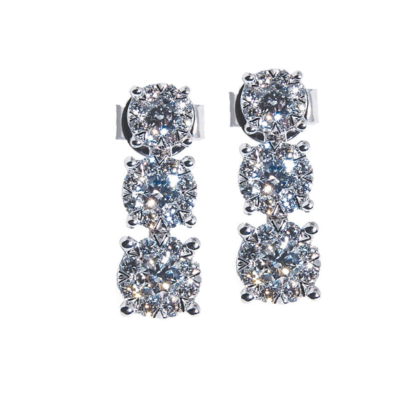 1.00 CTW Three Cluster Drop Earrings