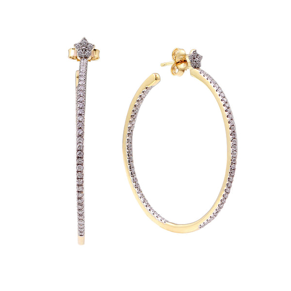 1.00 CTW In & Out Hoop Earrings