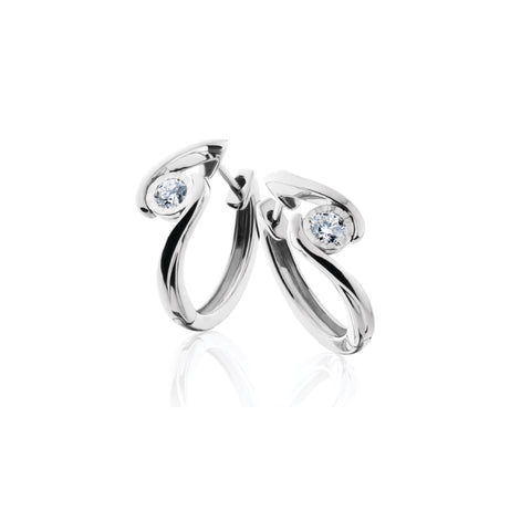 14K White Gold Diamond Swirl Hoop Earring