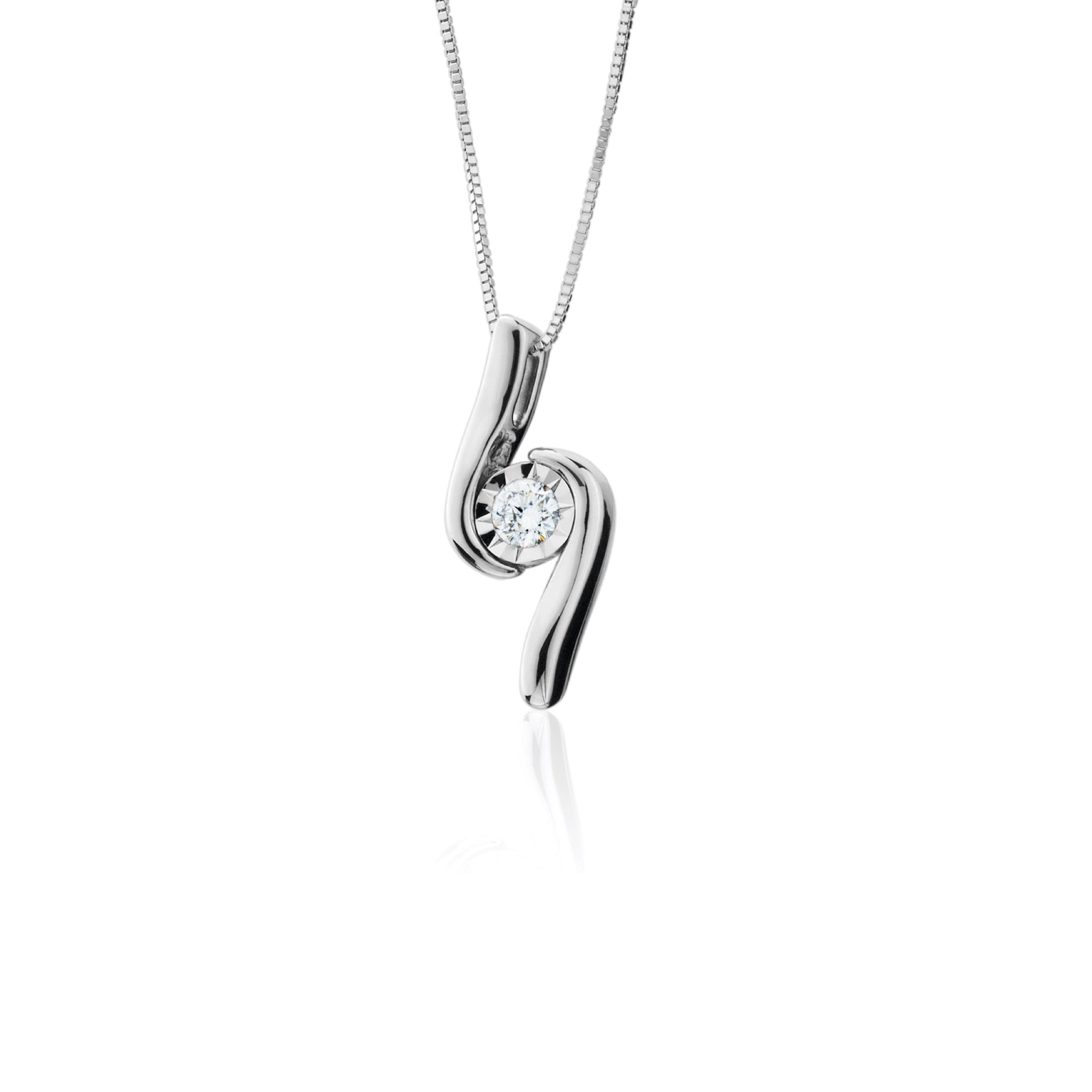 14K White Gold Diamond Swirl Pendant
