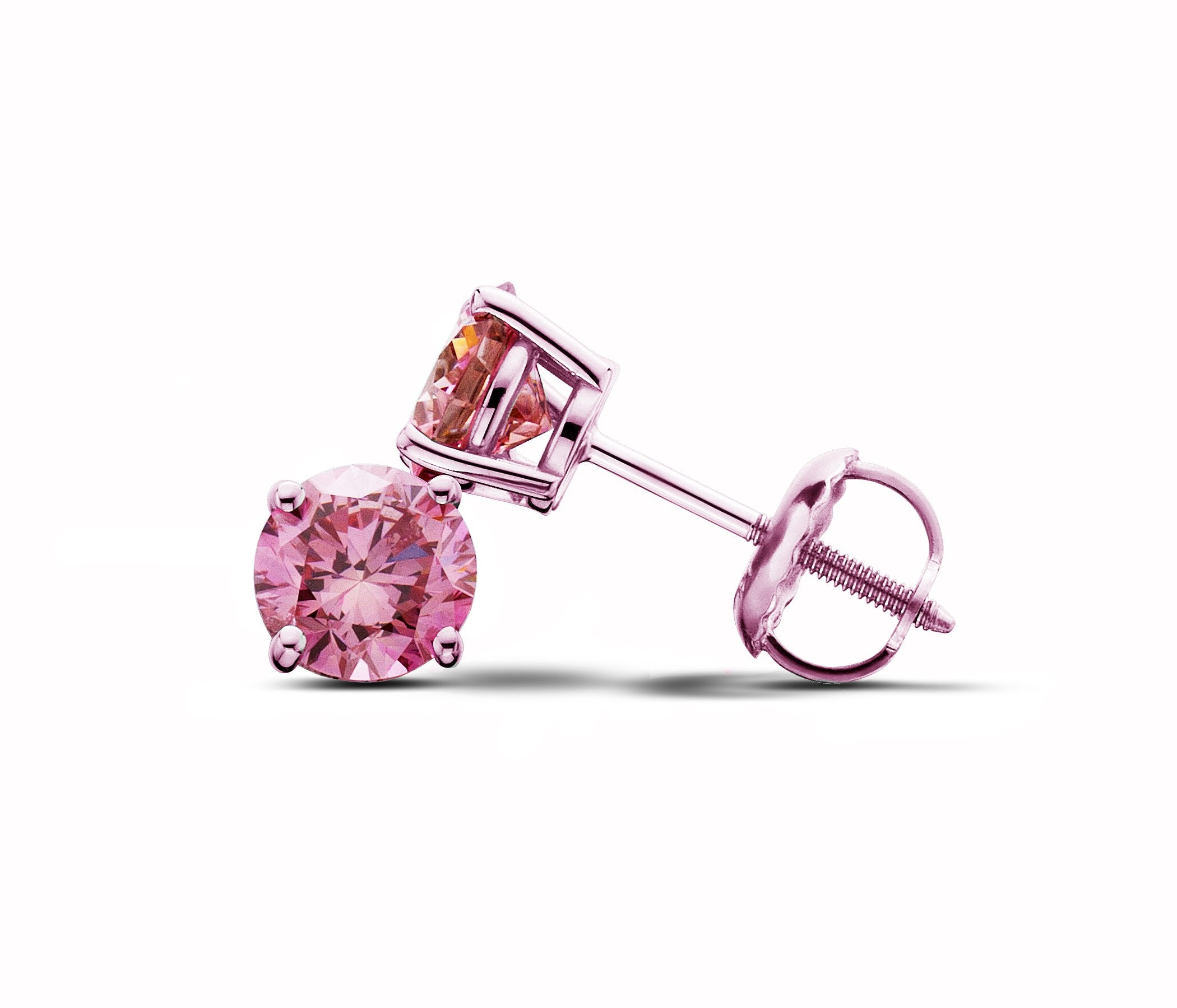 14Kt Rose Gold Pink Lab-Grown Diamond Stud Earrings