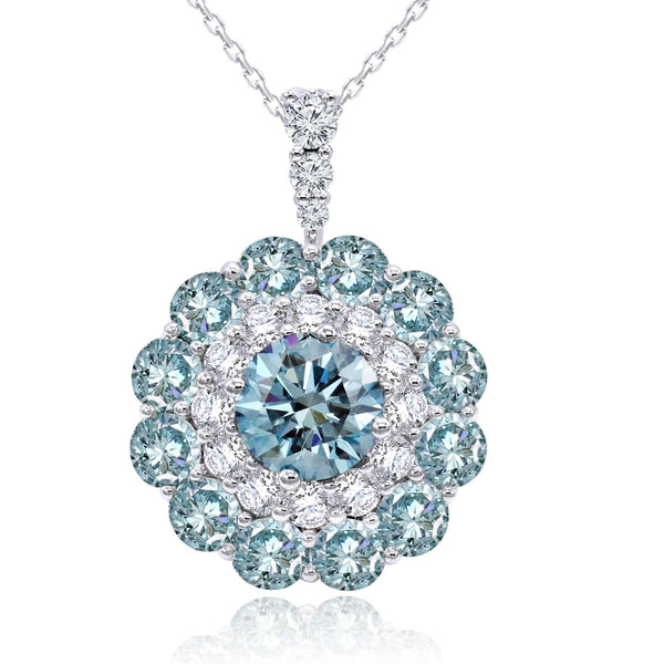 14K White Gold 4.60CTTW Ice Blue and White Lab Grown Diamond Flower Pendant