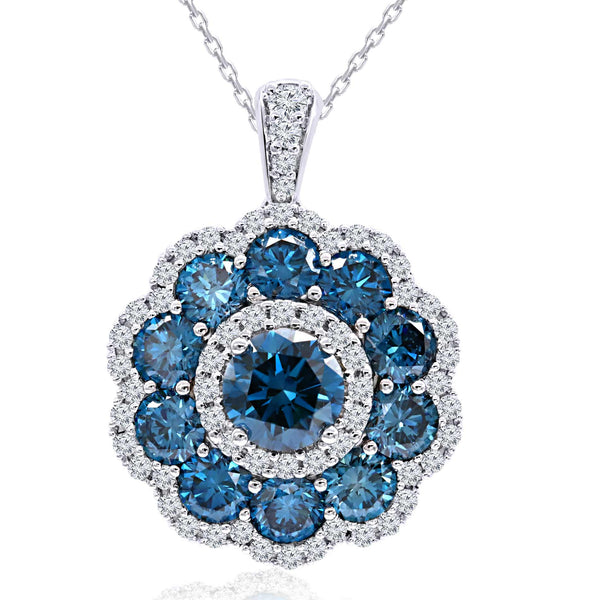 14K White Gold 4.55CTTW Royal Blue and White Lab Grown Diamond Flower Pendant