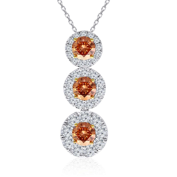 14K White and Yellow Gold 2.60CTTW Orange and White Lab Grown Diamond 3 Stone Halo Drop Pendant