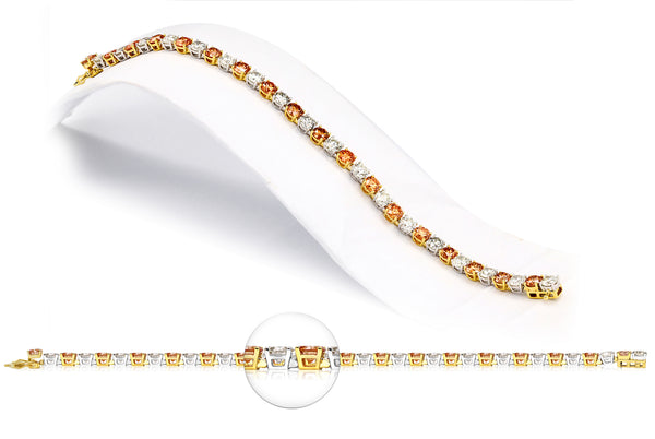 14K White and Yellow Gold 18.00CTTW Orange and White Lab Grown Diamond Tennis Bracelet